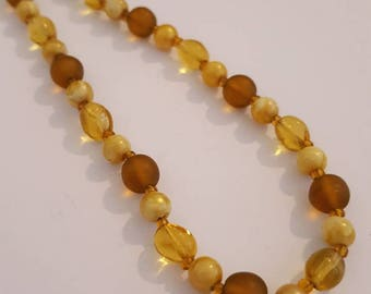 Vintage Amber Brown Glass Bead Necklace Vintage Glass Beaded Necklace 1950s Jewelry Retro 1960s Jewellery UK
