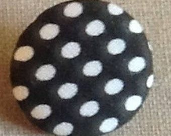 Button fabric covered metal, black color: white polka dots