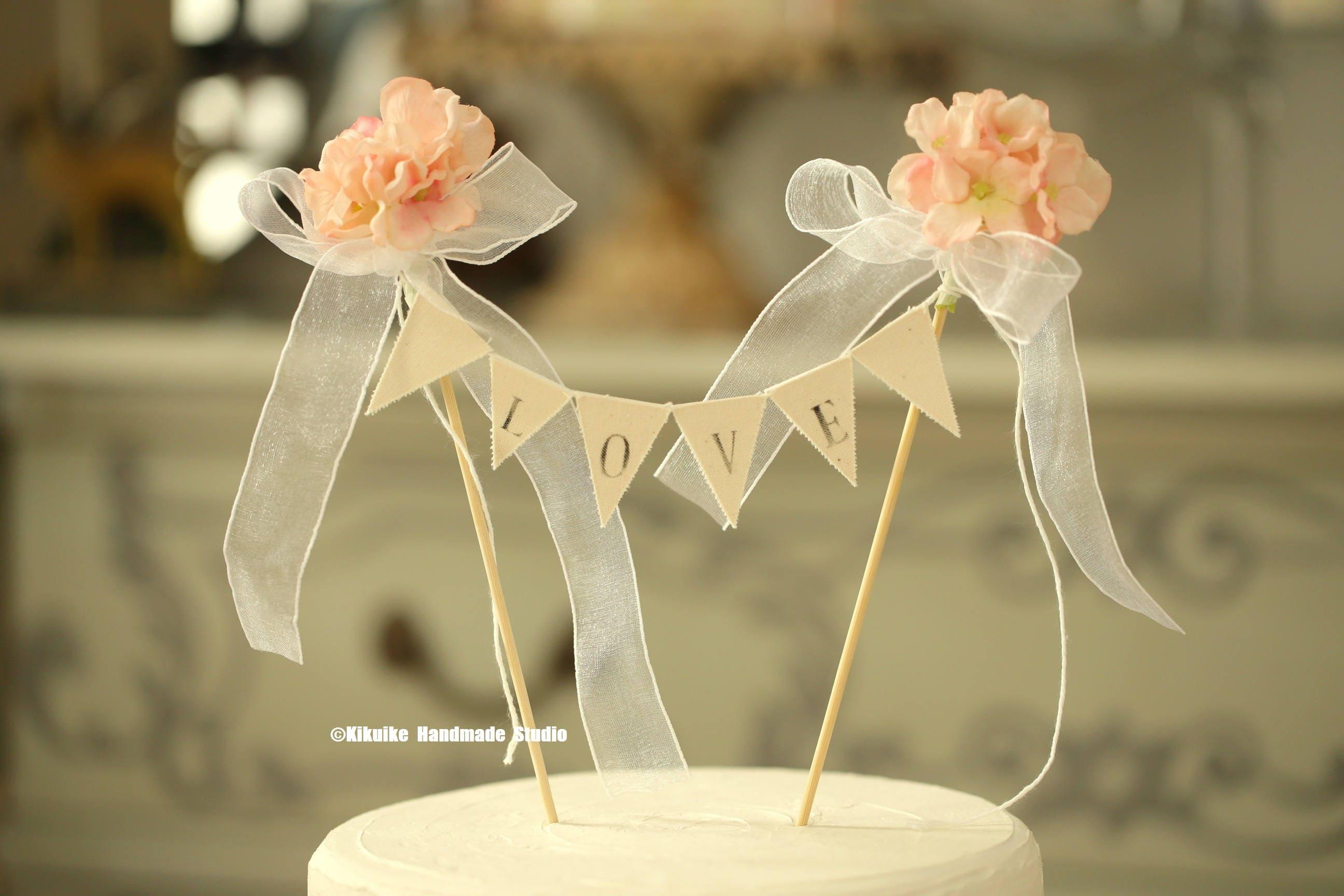 LOVE Wedding Cake Banner,Flower Cake bunting,Rustic wedding Cake ...