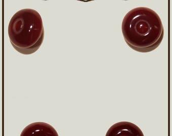 Set of 4 vintage mushroom buttons plastic red 14 mm