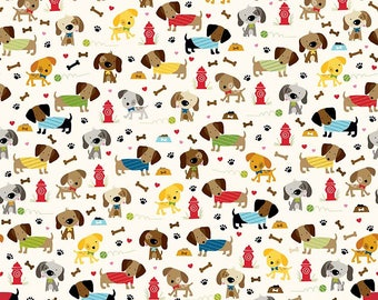 Dog Fabric, Dachshund Fabric, Childrens Fabric, Rover Dog Park by Riley Blake, Cream, Cotton, 1/2 Yard