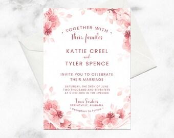 romantic wedding invitations blush wedding invite pink wedding invitation wedding invitation floral - Pink Wedding Invitations