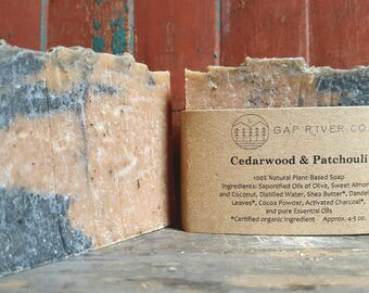 Cedarwood and Patchouli Soap with Activated Charcoal and Cocoa - Earthy, Natural, and Vegan