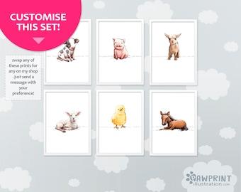 Farm animals nursery set of 6 prints - kids room décor - nursery décor farm animal set - animal nursery art girl nursery art boy