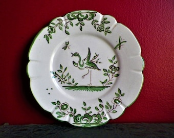 Plate of  Moustiers ancient ceramic stoneware wall signed Ric marque old 1940's with green ibis decoration