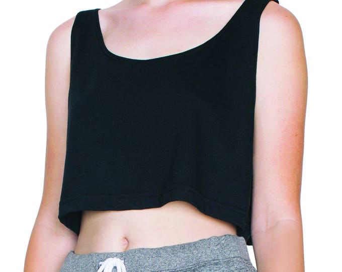 Loose Crop Tank Black - Wholesale Only -  We will print your chosen design!