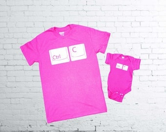 Copy Paste T-shirt. Ctrl C Ctrl V Tshirt. Father and Son T-shirts. Father and Daughter T-shirt.  Baby Body Suit.