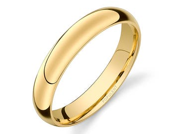 14k Yellow Gold Band (4mm) | PLAIN | Polished Rounded Dome + Comfort Fit | Men's Women's Wedding Ring Simple