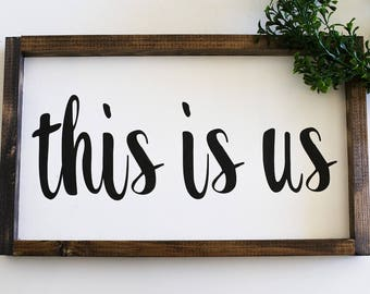 THIS IS US framed wood sign, family picture prop, wedding decor, gallery wall, bridal gift, wedding gift, housewarming gift, family pictures