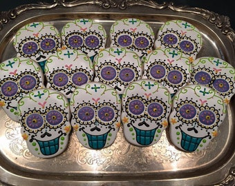 Large Sugar Skull Cookies - ONE Dozen