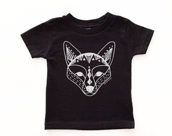 Scandinavian fox kids tshirt, Fox print baby shirt, Kids fox shirt, Modern kids clothes, Monochrome, Fox tshirt, Baby toddler, geometric fox