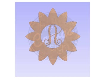 MONOGRAM SUNFLOWER - Blank - Unfinished Wood Cutout - DIY - Wreath Accent, Door Hanger, Ready to Paint & Personalize