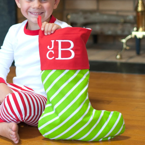 Monogrammed Christmas Stocking Green Stripe Stocking Christmas Decor Red and Green Holiday Home Decor Christmas Collection Monogrammed Gifts