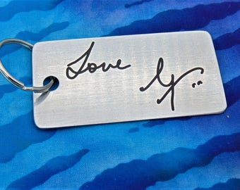 Handwritten Key chain  - Mom's Handwriting -  Engraved - Brushed Stainless Steel Gift- Perfect Gift Mother's Day Father's day, grand parents