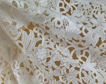 """White Tulip floral Lace Fabric Retro Lace hollow out Embroidered wedding bridal Fabric Dress 47"""" Wide 1 Yard S0390"""