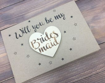 Will you be my Bridesmaid Card, Maid of Honour Card, Flower Girl Card, Wooden card, Wedding Stationery