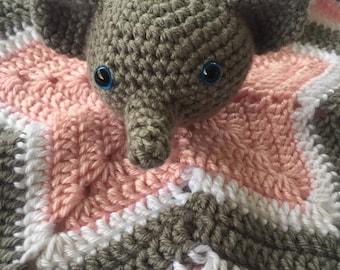 Elephant Lovey, Elephant Security Blanket, Baby Lovey, Baby Elephant, Baby Animals, Baby Shower Gift, Baby Gift