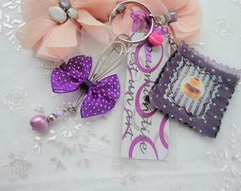 bag treats cup cake jewelry, silver purple organza bow