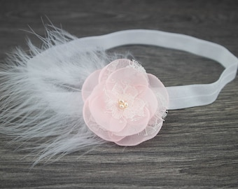 Pink Christening Headband - Pink Feather Headband - Blush Headband - Baptism Headband - Girls Headband - Feather Headband -Newborn Headband