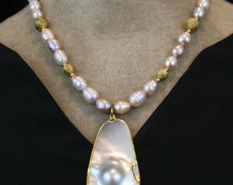 SUMMER SALE Freshwater Pearls with Blister Pearl Pendant