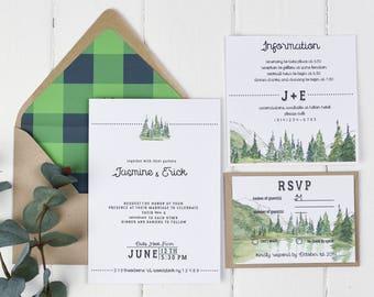Rustic Fall Wedding Invitation, Greenery Wedding Invitation, Forest Green Wedding Invitation, Hunter Green Wedding Invitation, Plaid Wedding