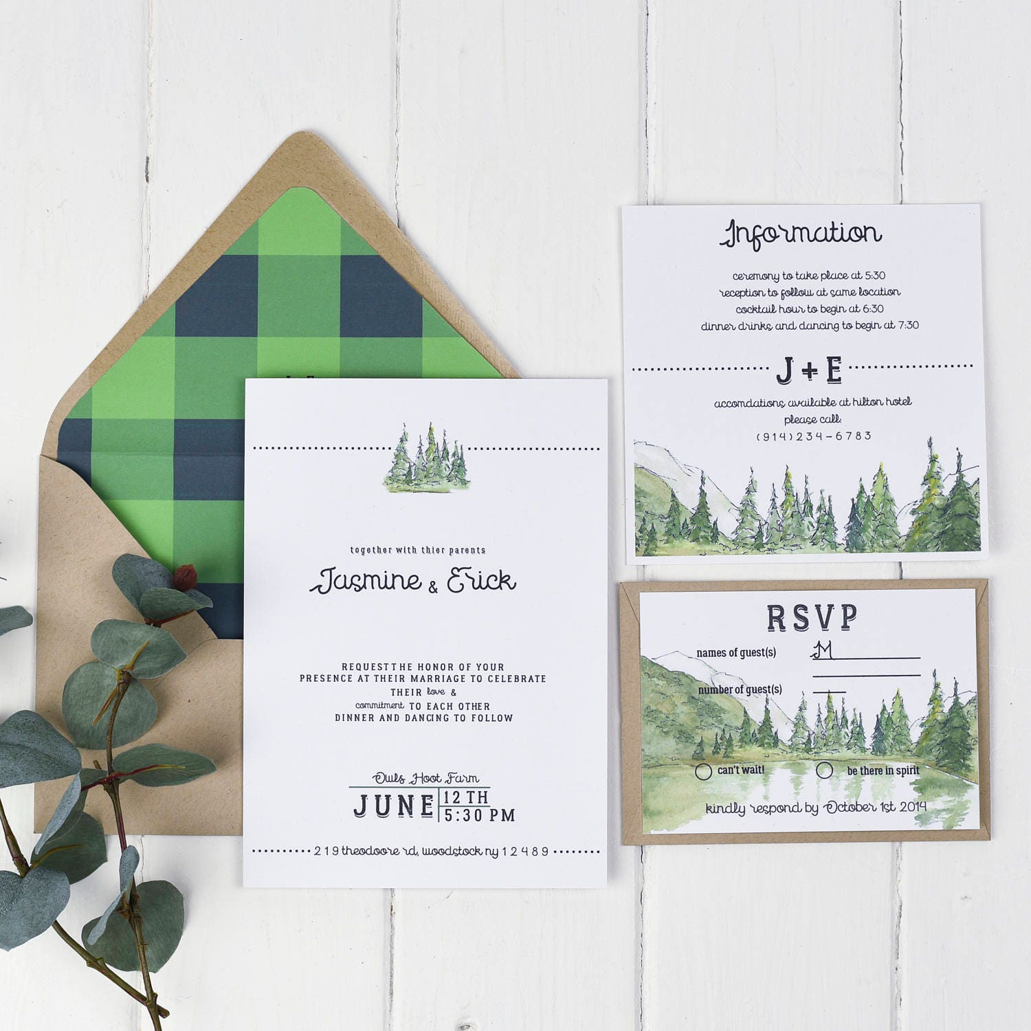 Rustic Fall Wedding Invitation Greenery Forest Green Hunter