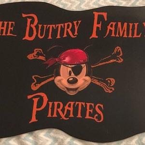 Personalized Minnie Pirate Head Stateroom Disney Cruise Door