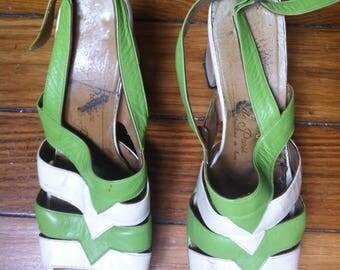 cream & green 70s plaform shoes sling back sandals, disco glam vibe / 38,5 FR 5,5 UK 7 US