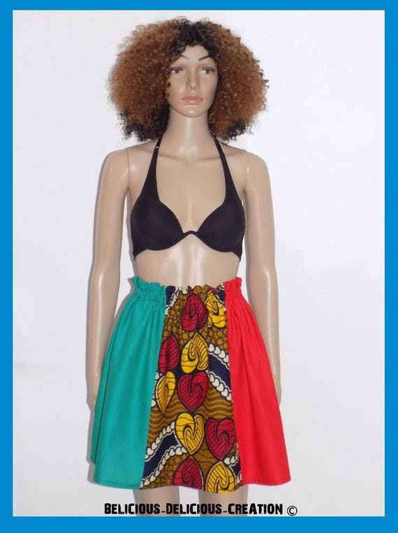 Original skirt! MULTIWAX! cotton multicolored size 38/40 Long 47 cm belicious delicious creation