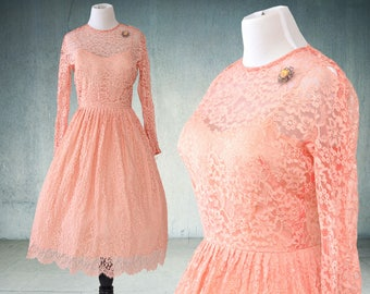1950s Lace Party Dress Pink Rose Gold Vintage