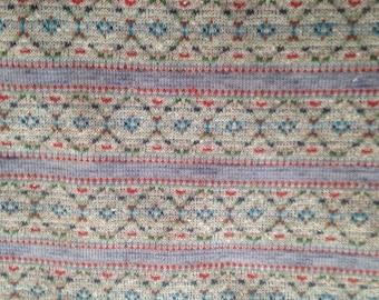 Heather Grey Fair Isle Stripe Fabric