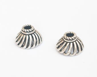 Bali Sterling Silver Bead Caps 10mm-2pc