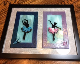 Fused Glass Ballerina Art With Glass Enamel and Flameworked Accents