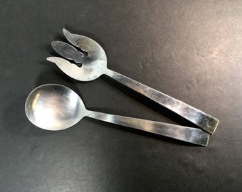 Kaysons Stainless Steel Serving Utensils Fork Spoon Two Piece Salad Serving Set Mid Century Design