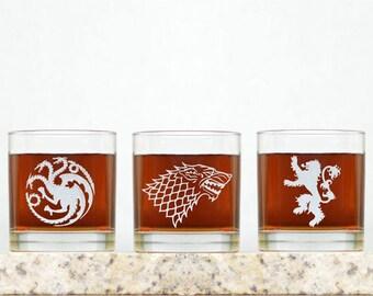Game of Thrones | Game of Thrones Houses Inspired Rocks Glasses. GOT Whiskey Glasses. Custom GOT Glasses. Whiskey Glasses GOT Houses