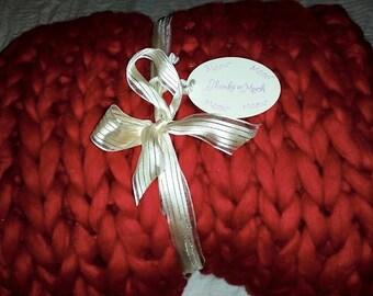 Super Chunky Knit Blanket  Chunky Knit Blanket Giant Knit Blanket 21 Micron Merino Wool Giant Knit Blanket 50 x 50  Crimon Rosella