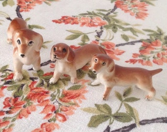 Vintage miniature daschund family.