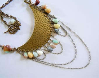 Necklace bronze antique with multiple chains and stones amazonite Bohemian retro style.