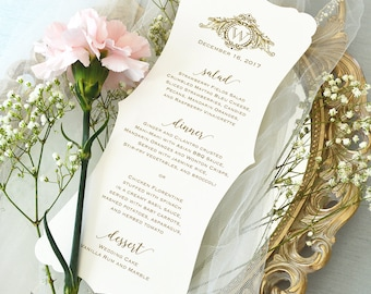 Fancy Cut Wedding Menu on Ivory Shimmer Card Stock with Gold Writing and Logo - Custom Colors Available