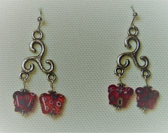 """Butterfly"" millefiori Murano beads and silver hook earrings"