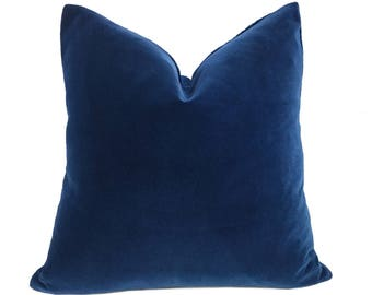 "Robert Allen Riviera Blue Exquisite Cotton Velvet Pillow Cover, Fits 12x18 12x24 14x20 16x26 16"" 18"" 20"" 22"" 24"" 26"" Cushion Inserts"