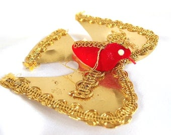 Gold Bird Ornament, Vintage Red Flocked and Gold Mylar Dove Japan Ornament