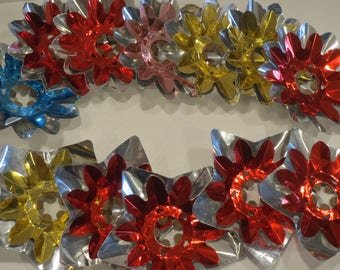 multi coloured lot of vintage star shaped double foil christmas light reflectors 12 pc - Reflector Christmas Lights