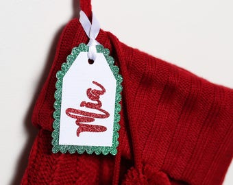 Christmas stocking name tags, Personalized christmas stocking name tags, Christmas stocking personalized name tags, holiday tags