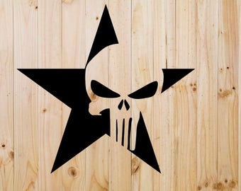 Punisher Star Vinyl Decal - Yeti Decal- Tumbler Decal - Laptop Decal - Yeti Sticker - Window Decal - Sticker - Vinyl Sticker- Personalized