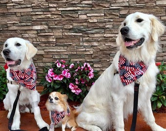 Patriotic Flag Bandana || Personalized Blue  and Red Polka Dot || Custom Reversible Dog Pupdana || Puppy Gift by Three Spoiled Dogs