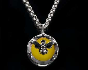 Stained glass bumble bee necklace pendant, stain glass bee necklace charm, handmade jewelry, glass bee, bee mine jewelry
