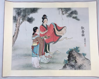 """39"""" Antique Chinese Watercolor Painting 2 Women rice paper with silk border vintage"""