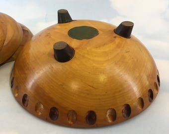 Baribeau Baribocraft Spaceship Mid Century Maple Wood Salad and Serving Bowls