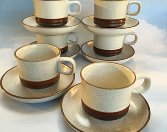 Set of 6 Denby Potters Wheel Clay Stoneware Cups and Saucers Vintage Mid Century